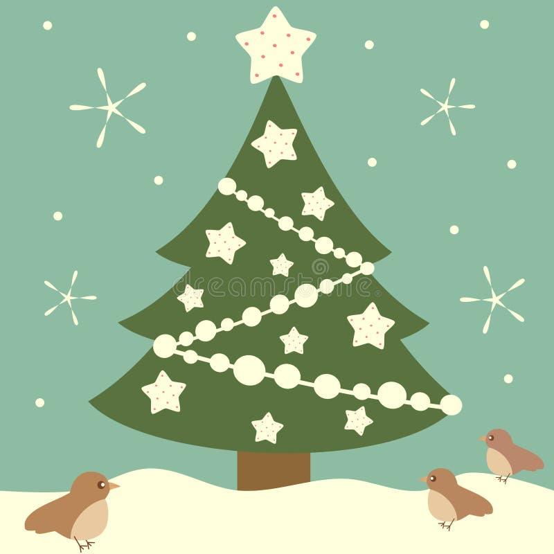 动画片与白色的圣诞树担任主角假日背景例证 皇族释放例证