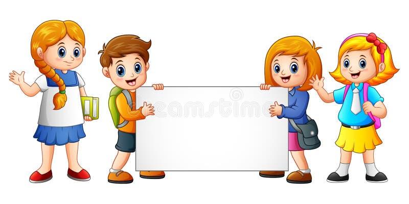 动画片与空白的标志的学校孩子 向量例证