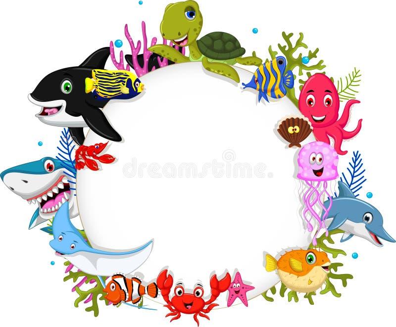 动画片与空白的标志的海洋动物您的设计 向量例证