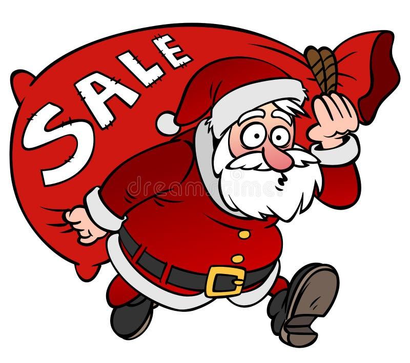 动画片与袋子销售的圣诞老人字符被隔绝的 向量例证