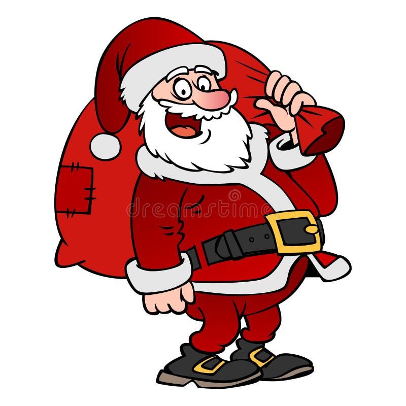 动画片与被隔绝的袋子的圣诞老人字符 向量例证