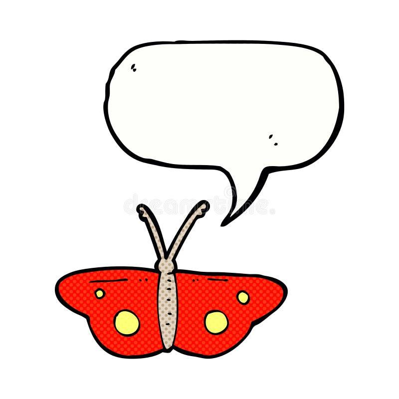 动画片与讲话泡影的蝴蝶标志 皇族释放例证