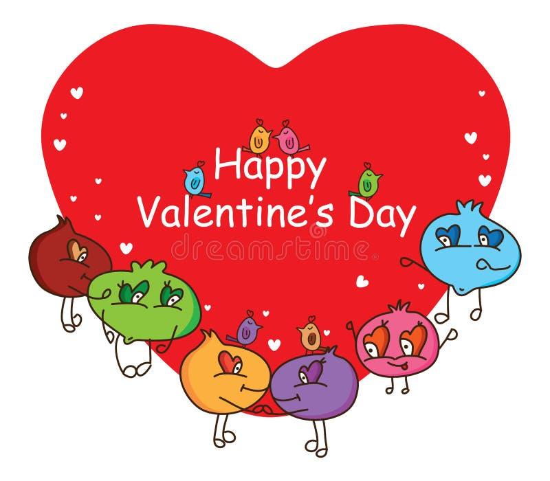 动画片丑恶的愉快的Valentines' s天盖子 皇族释放例证