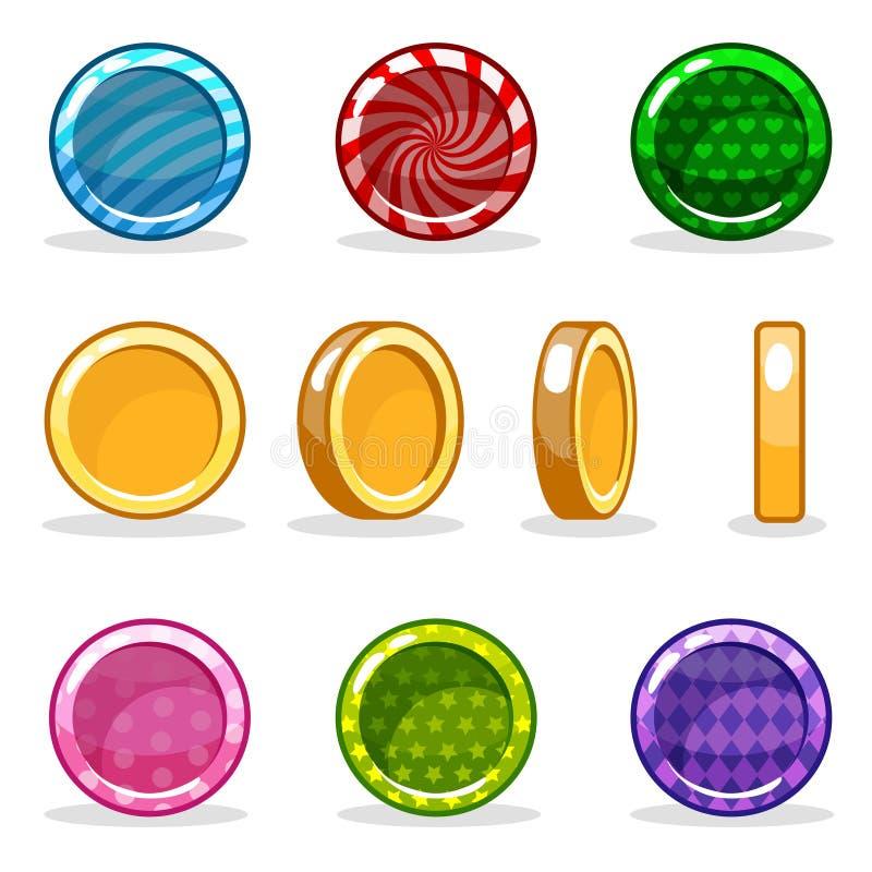 动画片五颜六色的光滑的硬币集合,比赛动画 皇族释放例证