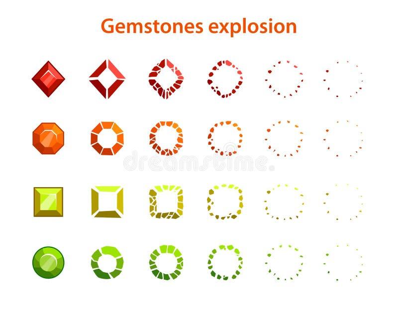 动画片五颜六色的宝石爆炸框架 向量例证