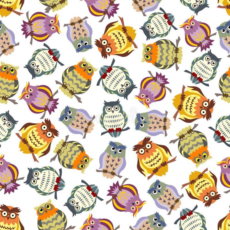 动画片五颜六色的猫头鹰无缝的样式背景 向量例证