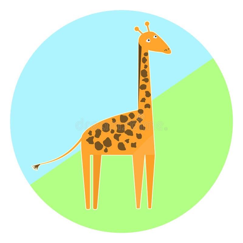 动画片五颜六色的长颈鹿象 皇族释放例证