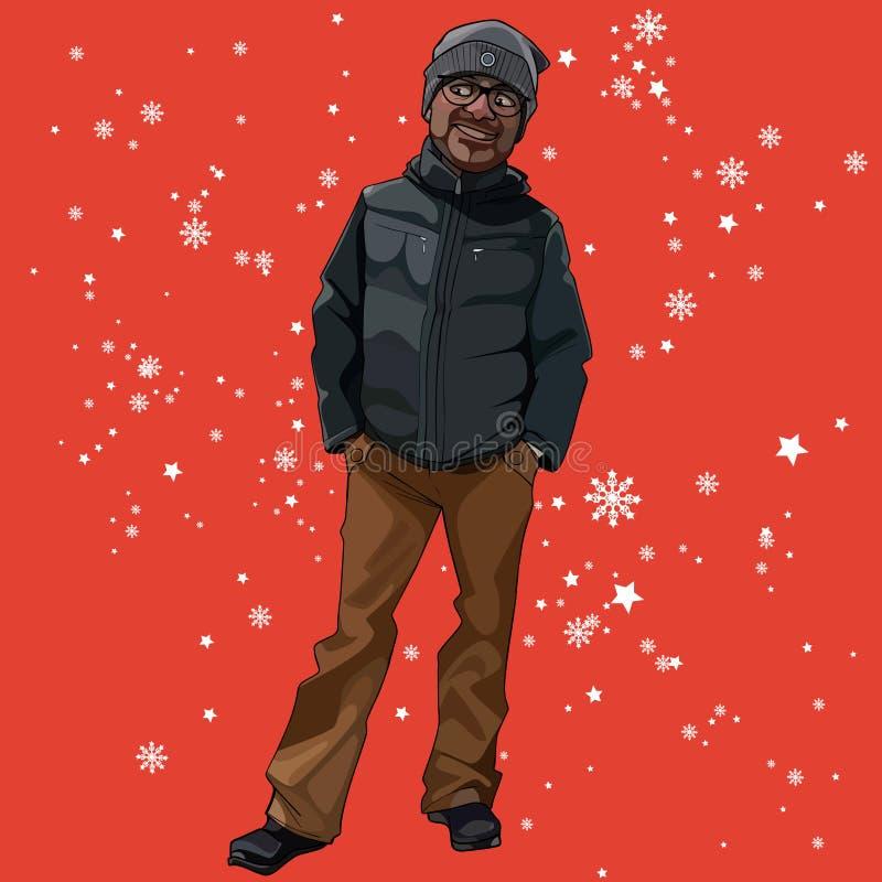 动画片人在冬天在与雪花的红色背景穿衣 皇族释放例证