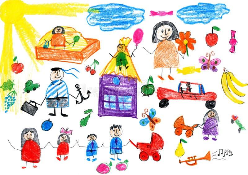动画片人愉快的生活方式收藏,儿童在纸,手拉的艺术图片的图画对象 向量例证