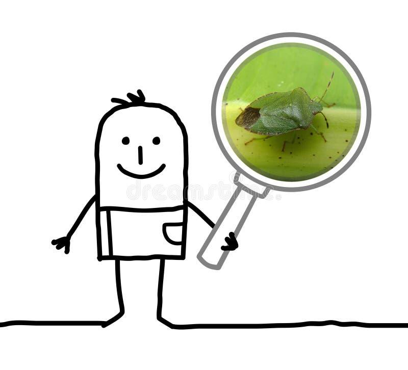 动画片人观察与放大镜的一个臭虫 皇族释放例证