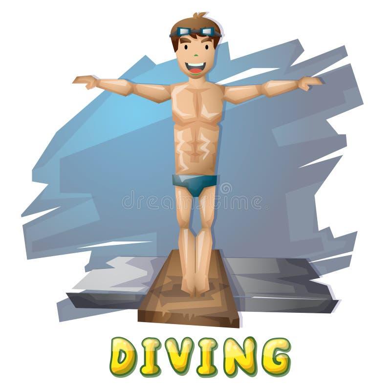 动画片传染媒介与被分离的层数的潜水体育比赛和动画的 皇族释放例证