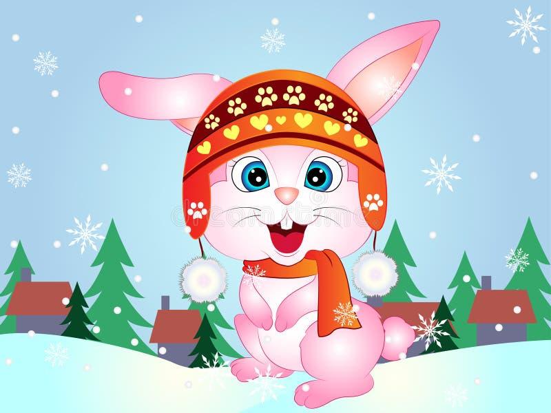 动画片传染媒介冬天小兔 免版税库存图片