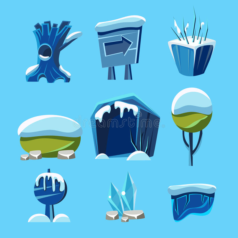 动画片传染媒介冬天比赛自然元素 向量例证