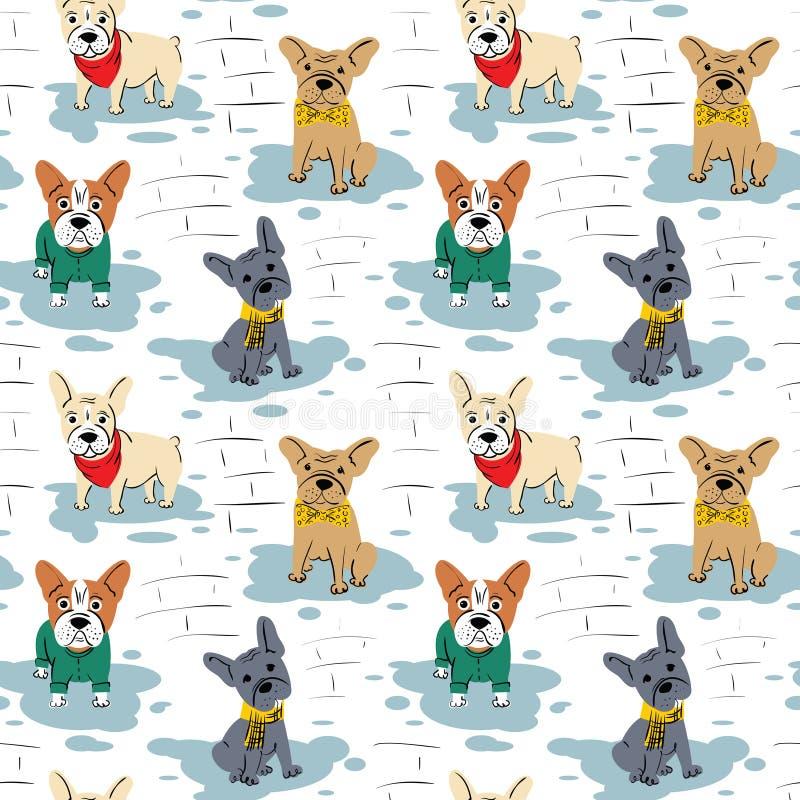 动画片传染媒介字符法国牛头犬无缝的样式 向量例证