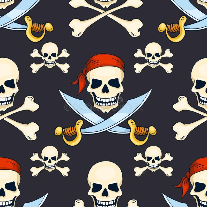 动画片传染媒介手拉的海盗头骨无缝的样式 向量例证