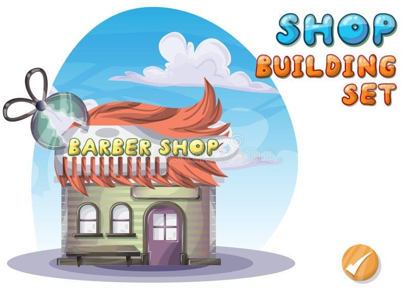 动画片传染媒介比赛和动画的理发店 向量例证