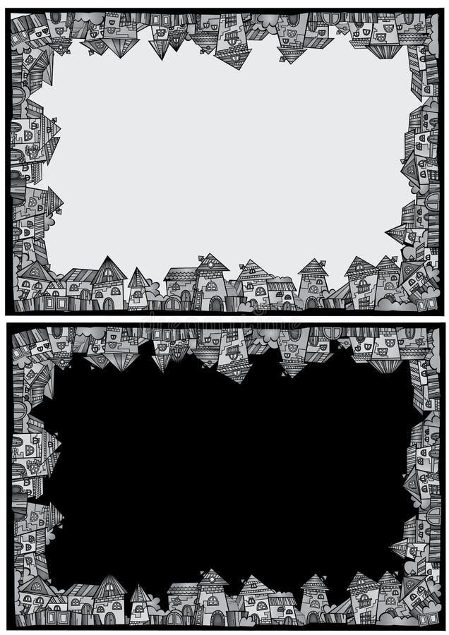动画片传染媒介建筑镇边界集合 皇族释放例证