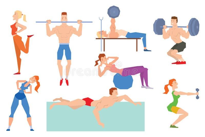 动画片体育健身房人编组在健身球的锻炼 皇族释放例证
