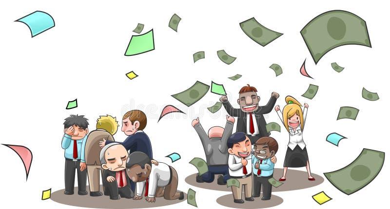 动画片例证成功和在与金钱飞行的股市上无法买卖人、经纪和投资者与财富和 皇族释放例证