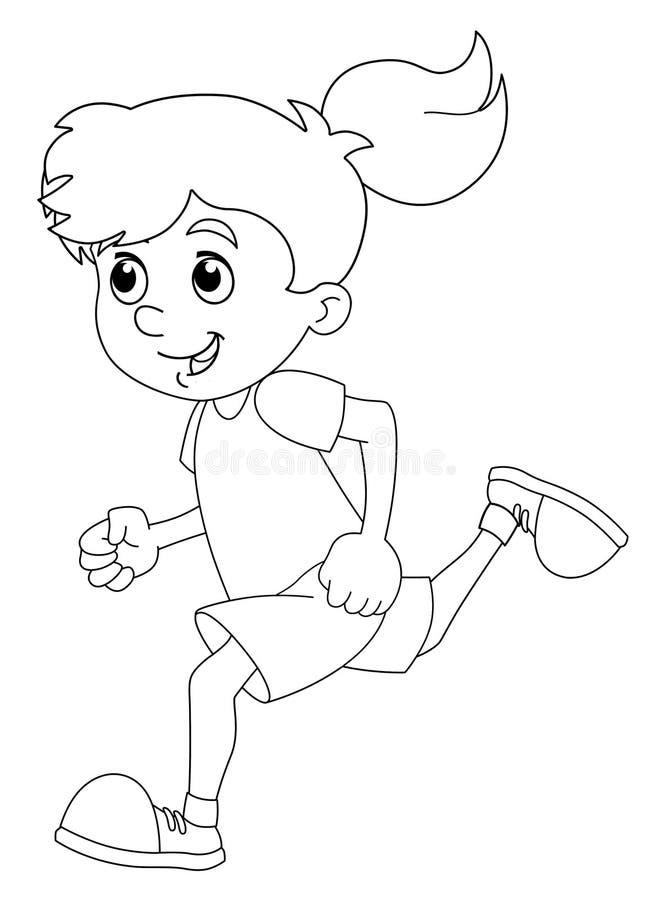 动画片儿童训练-女孩- -被隔绝的着色页 皇族释放例证
