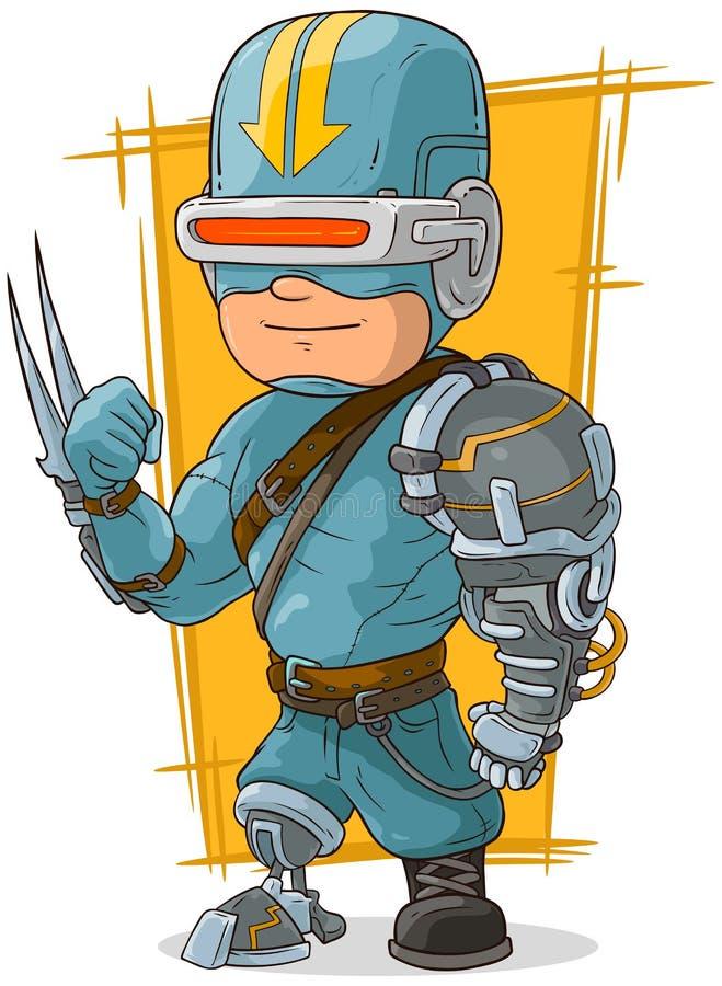动画片凉快的作战靠机械装置维持生命的人超级英雄 库存例证