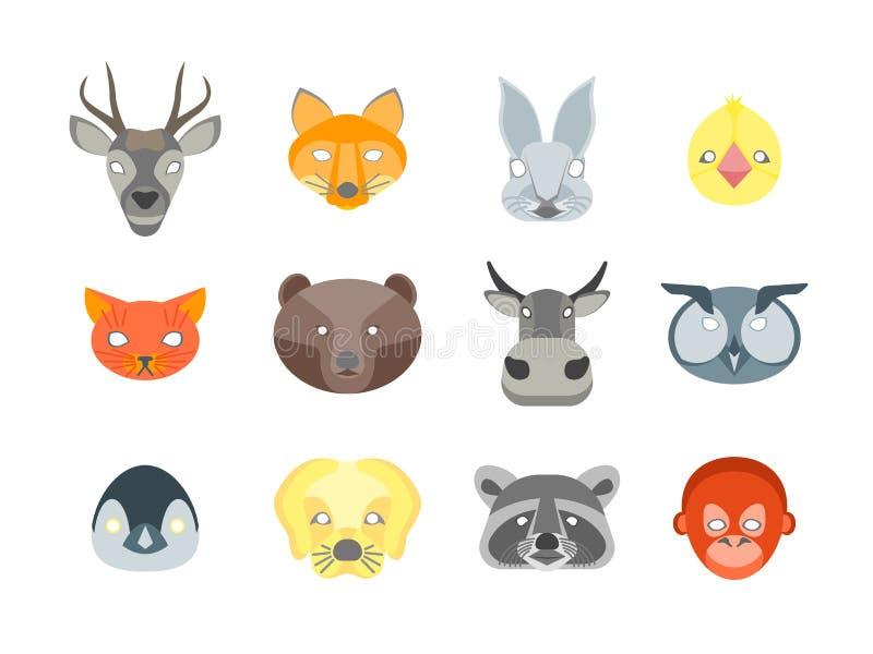 动画片动物为服装设置的党面具 向量 向量例证