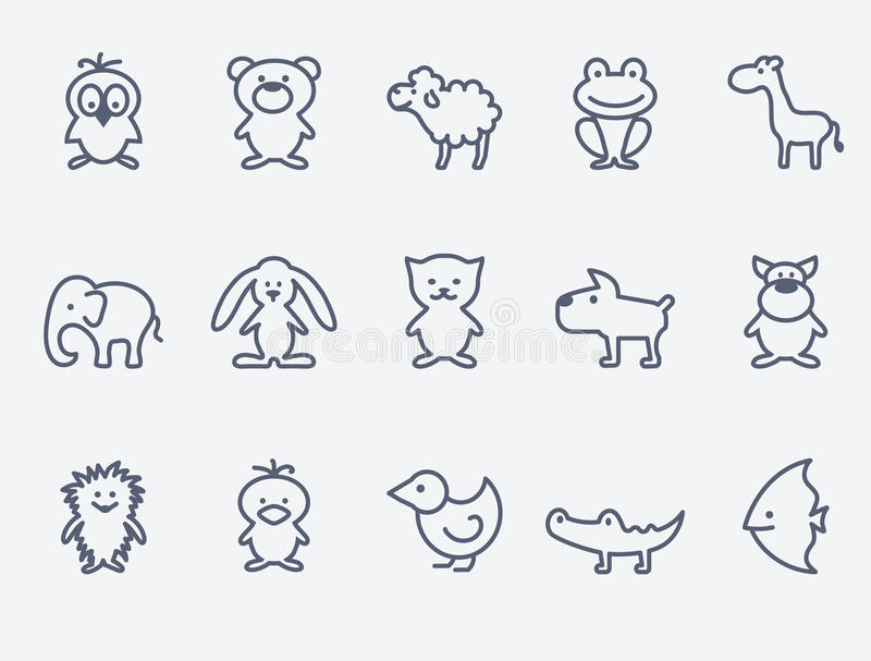 动画片动物象 向量例证