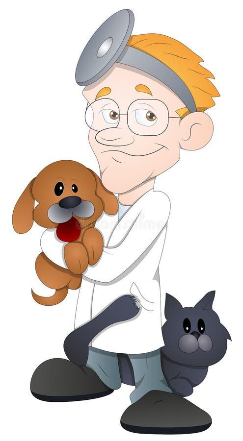 动物医生-漫画人物-传染媒介例证 向量例证