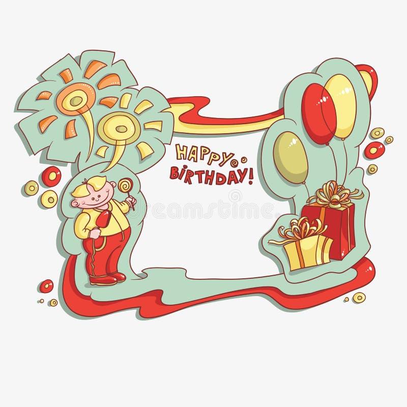动画片卡片生日快乐 向量例证