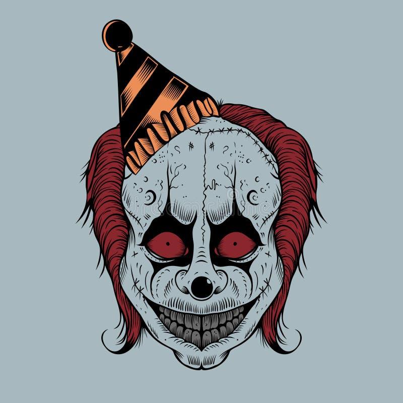动画片可怕小丑的Illustartion 向量例证
