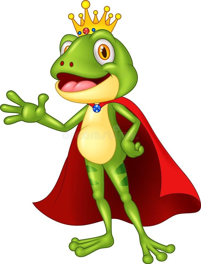 动画片可爱的国王青蛙挥动的手 向量例证