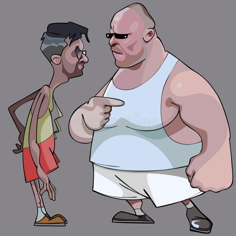 动画片可笑的稀薄的人和肥胖人谈话 向量例证