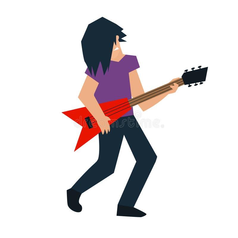 动画片吉他演奏员 向量 向量例证