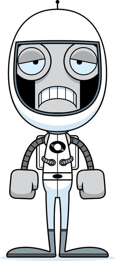 动画片哀伤的宇航员机器人 向量例证