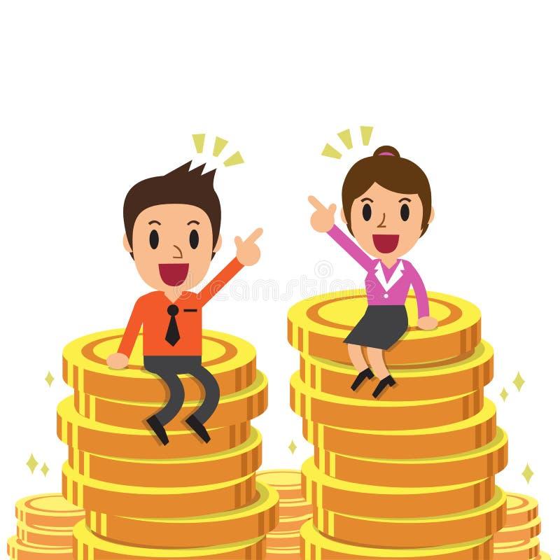 动画片商人和女实业家坐金钱硬币 向量例证