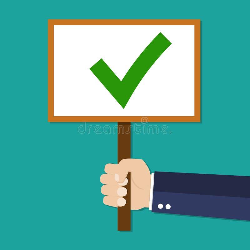 动画片商人手与绿色壁虱的举行标志 向量例证