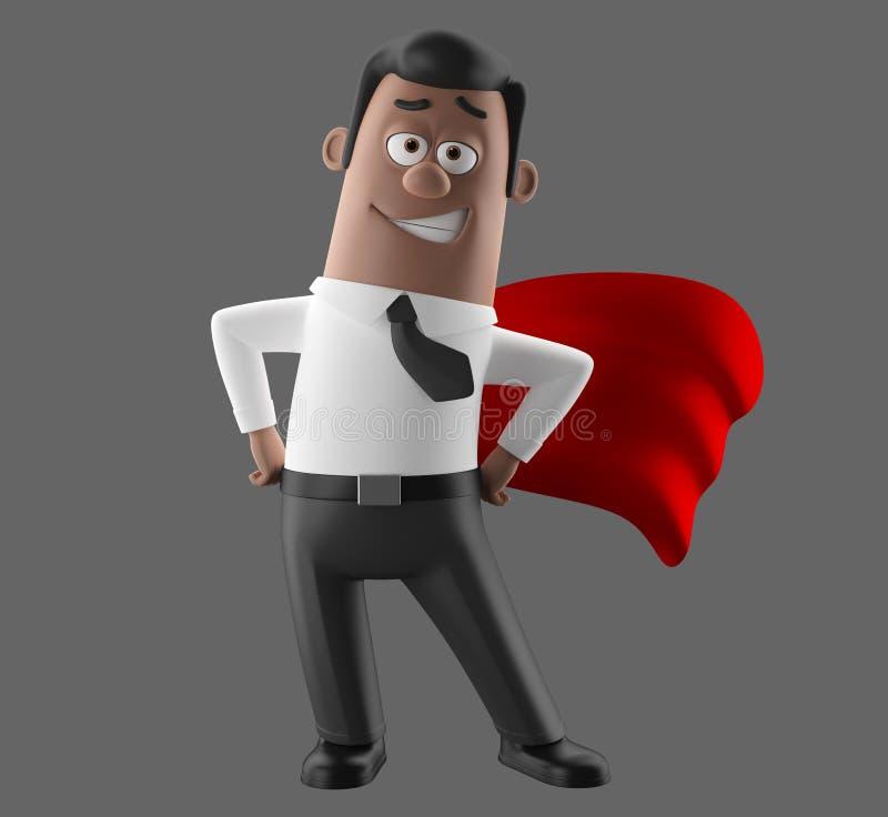 动画片商人3D衣服和领带的办公室人 免版税图库摄影