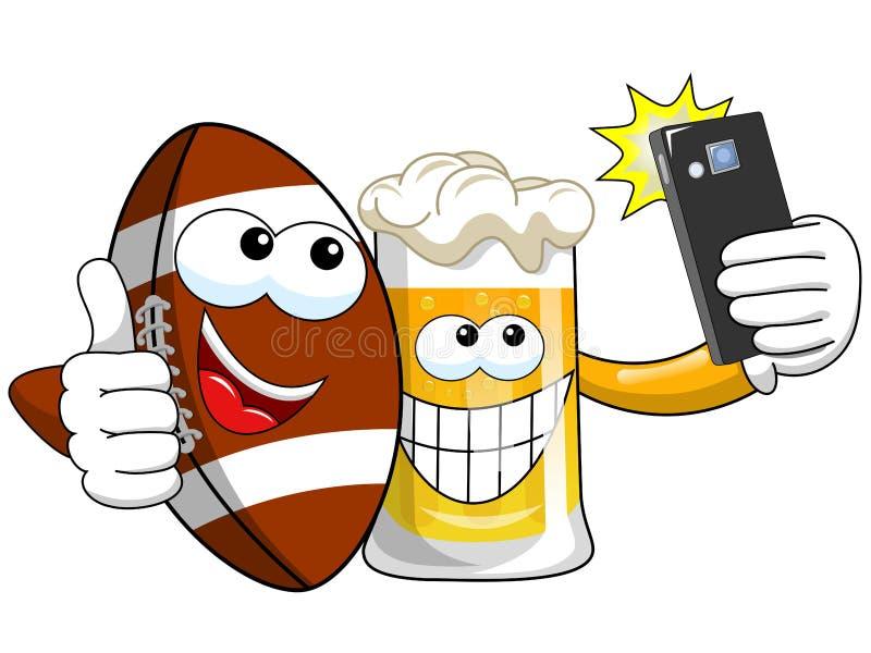 动画片啤酒采取selfie智能手机的橄榄球球被隔绝 皇族释放例证