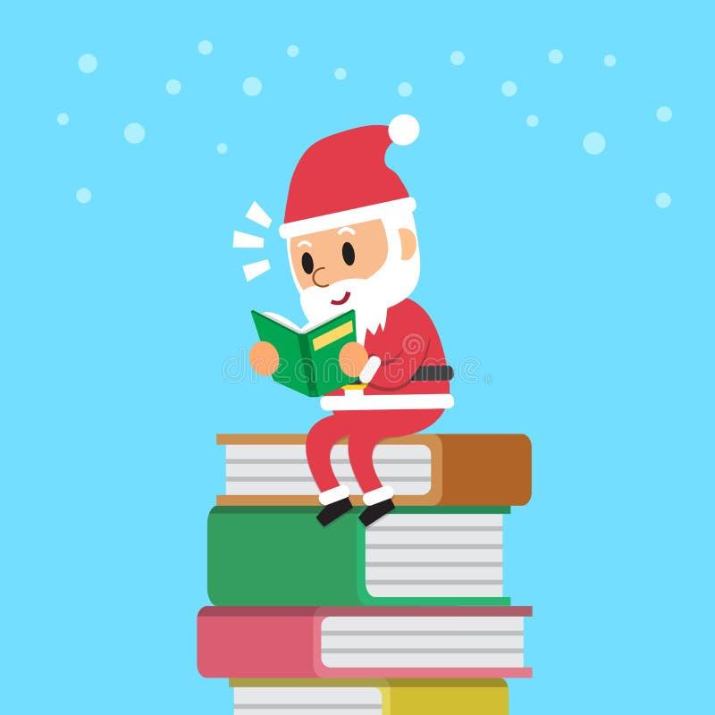 动画片圣诞老人阅读书 向量例证