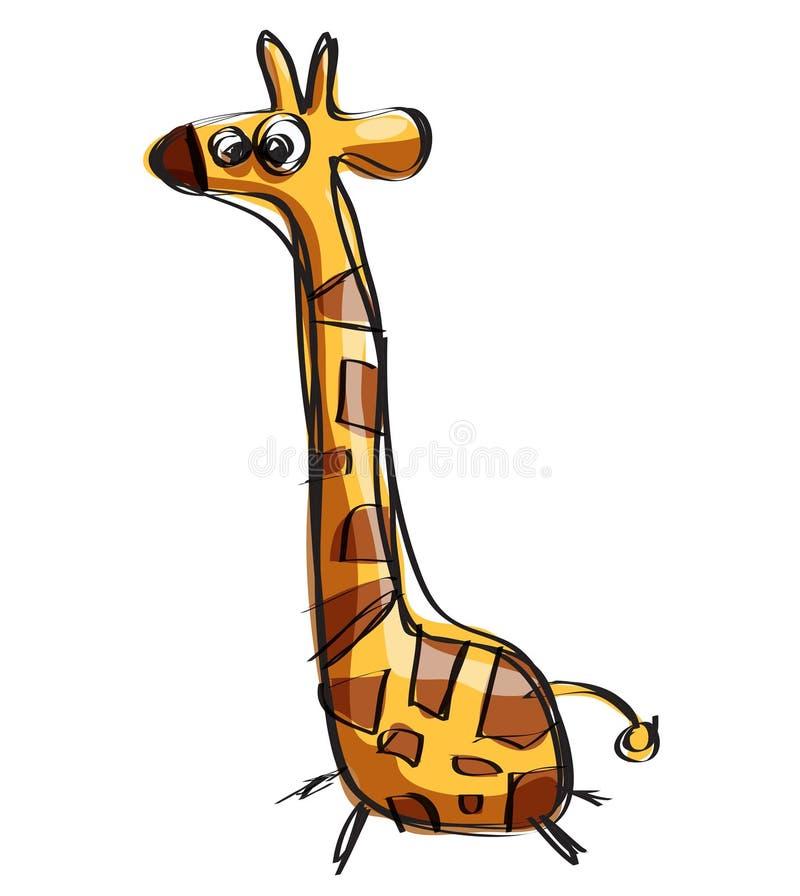 动画片在一个天真的幼稚图画样式的小长颈鹿 库存例证