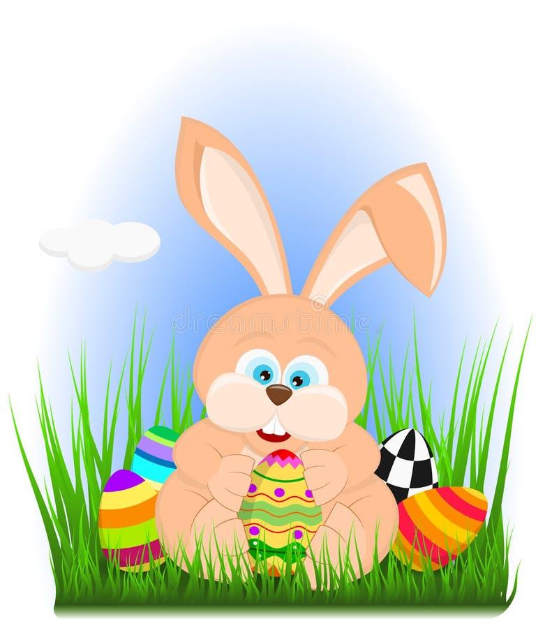 动画片在拿着复活节彩蛋的草的复活节兔子 向量例证