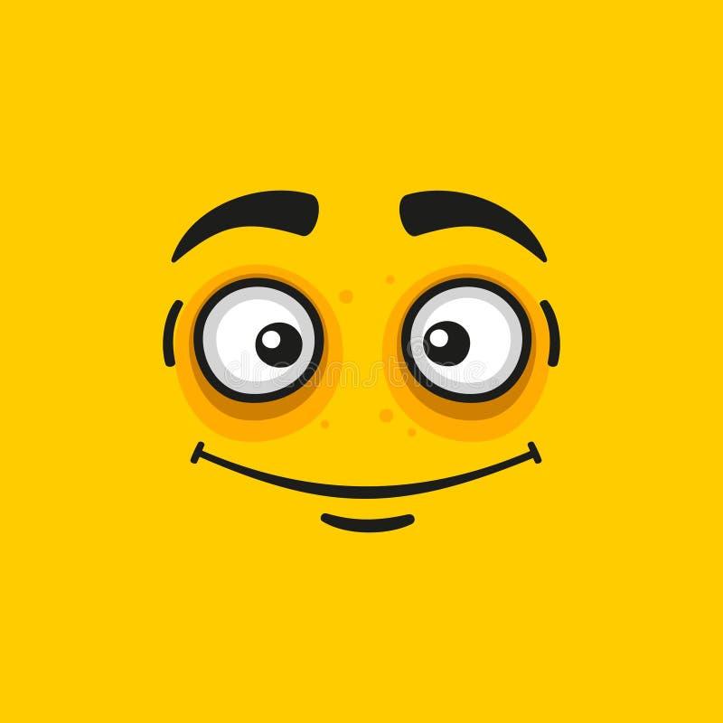 动画片在橙色背景的微笑面孔 向量 皇族释放例证