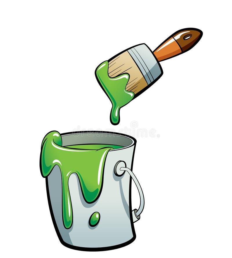 动画片在油漆桶绘画的绿色油漆与油漆 皇族释放例证