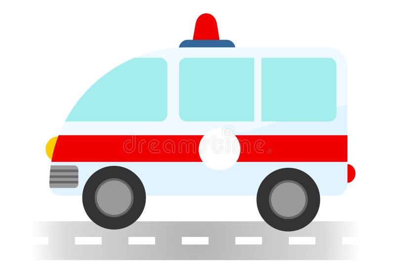 动画片在白色背景的救护车汽车 免版税库存图片