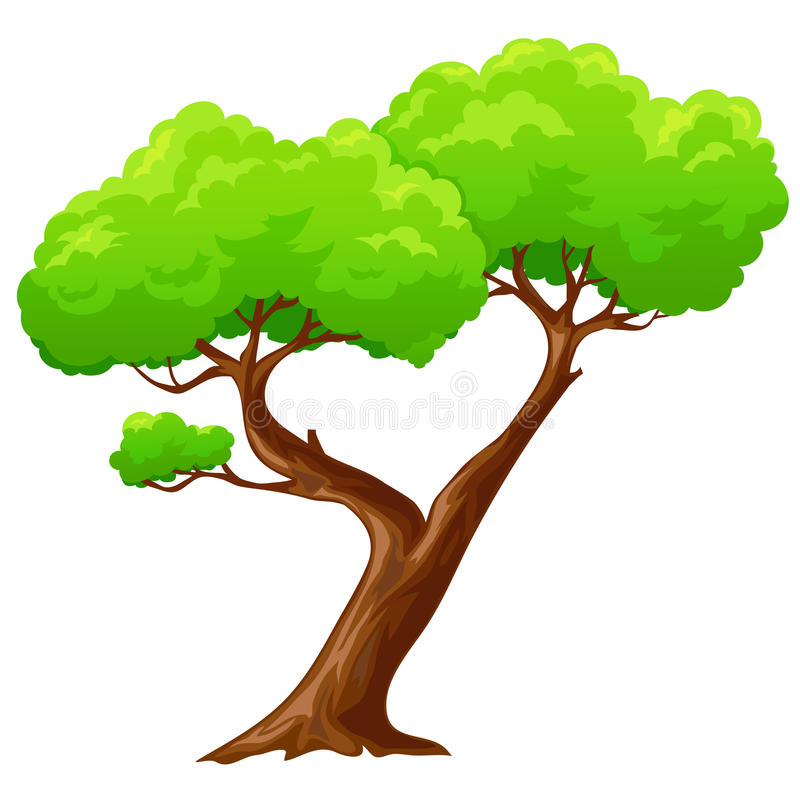 动画片在白色背景的被隔绝的心形的树 库存例证
