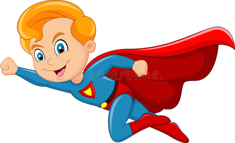 动画片在白色背景隔绝的超级英雄男孩 皇族释放例证