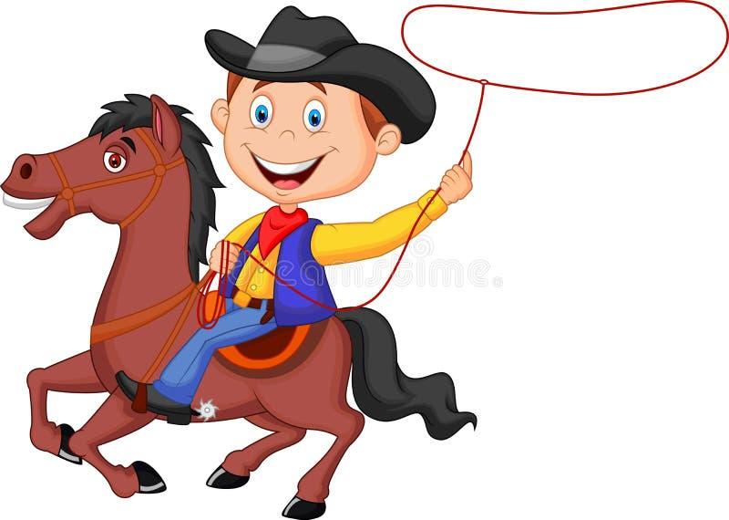 动画片在马投掷的套索的牛仔车手 向量例证