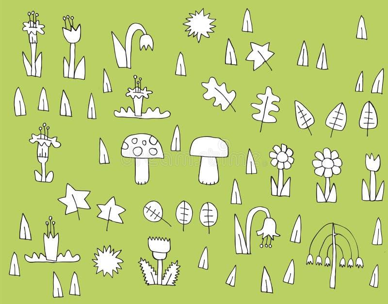 动画片在黑白的植被汇集 免版税库存图片