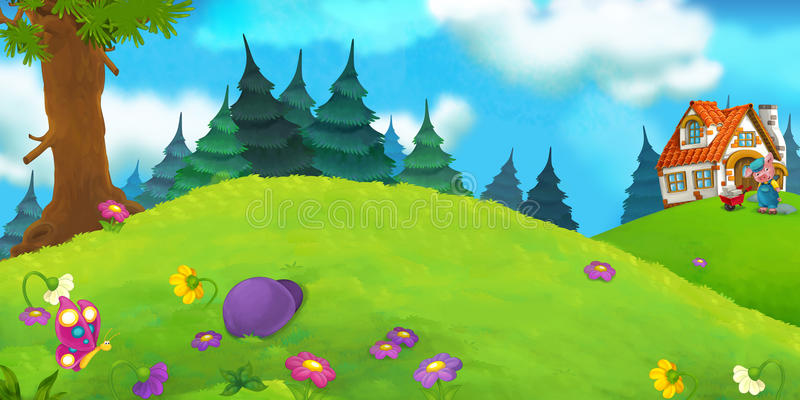 Download 动画片场面 库存例证. 插画 包括有 艺术, 滑稽, 逗人喜爱, 童话, 草甸, 愉快, 神仙, beautifuler - 59101462