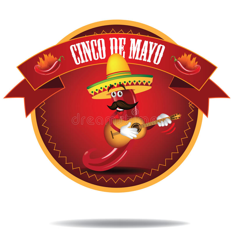 动画片墨西哥胡椒Cinco De马约角象 库存例证